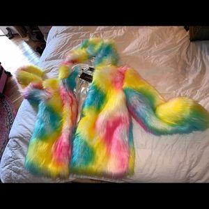 Faux fur unicorn coat pink blue yellow L